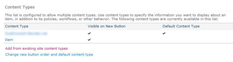 SharePoint 2010 - List Content Types